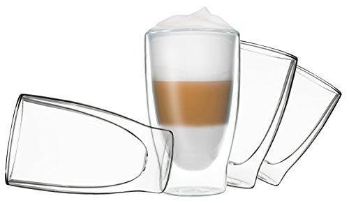 Glas (4x 400ml DUOS doppelwandige Gläser Cocktail Thermogläser - Set mit Schwebe-Effekt, auch für Latte Macchiato, Cappuchino, Tee, Eistee, Säfte, Wasser, Cola, Cocktails geeignet, DUOS by Feelino …)