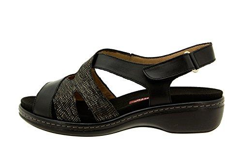 Scarpe donna comfort pelle Piesanto 8813 sandali soletta estraibile comfort larghezza speciale Negro