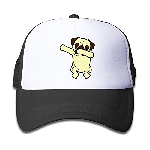 Voxpkrs Lustiger tupfener Mops Netter tupfener Hundekind-Mütze-Baseballmütze-Kappen-justierbares schwarzes Q8S3S772