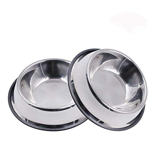 MLife Edelstahl-Hundenapf mit Gummi-Boden für kleine und mittelgroße Hunde, 2 Stück