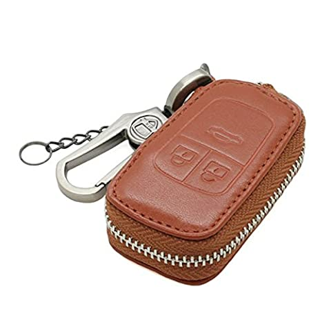 Genuine Leather Zipper Bag Key Case Holder Cover fit for BUICK CHEVROLET VAUXHALL OPEL Flip Key 3 Button 5650 Brown