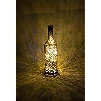 Farol led portavelas LED, color plata, oro, rojo, estilo antiguo, forma de botella, farol decorativo led - Vaso de velas de té, florero de cristal led - cristal portavelas, florero, velas, altura:21,5 cm., vidrio metal, dorado
