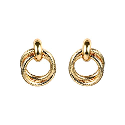 UINGKID Ohrstecker Mode Einfache Stilvolle Attraktive Frauen Einfache Doppelte Verdrehte Ring Persönlichkeit Cold Wind Thread Business Ohrringe -