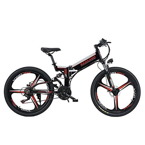 Bicicletas Electricas De Montaña Plegable, E-bike MTB 350W 30 Km/h, Aluminio, Batería De Litio 48V, Shimano 21, Ruedas Grandes De...