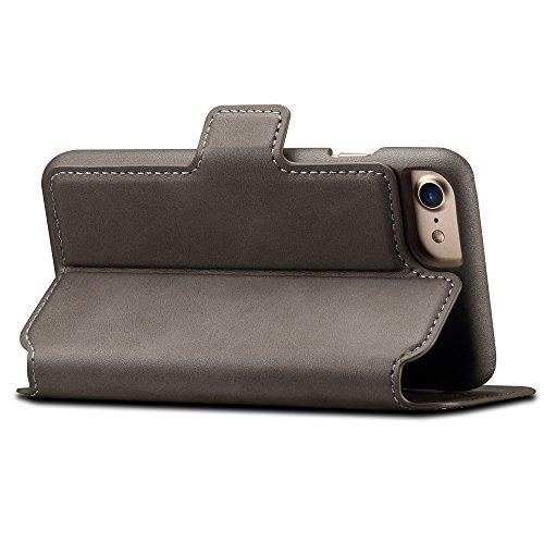 iPhone 7 Hülle und Brieftasche ,VENTER® herausnehmbare Schutzhülle, 2 Aufstellmöglichkeiten, Schutz, Hochwertiges Kunstleder, Geschenkverpackung grau