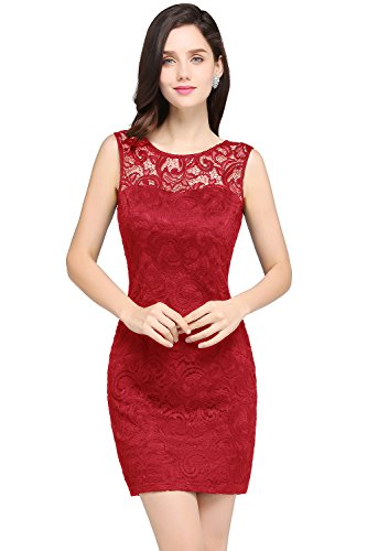 MisShow Damen Elegant Ämellos Spitzen Abiballkleid Abschluss Kleid mit Blumenstickerei Kurz Rot 44