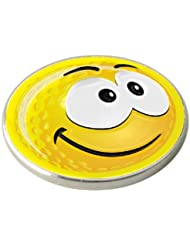 YELLOW SMILEY SMILE GOLF BALL MARKER. BY ASBRI GOLF