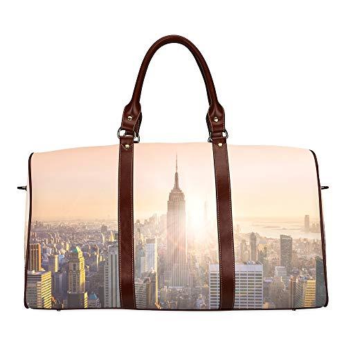Travel Duffel Bag EIN wunderschöner Sonnenuntergang in der Stadt wasserdichte Weekender-Tasche Reisetasche Damen Damen-Einkaufstasche Mit Mikrofaser-Leder-Gepäcktasche