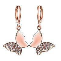 JewelleryClub oro rosa placcato gli elementi di Swarovski di cristallo farfalla Leverback orecchini per le donne