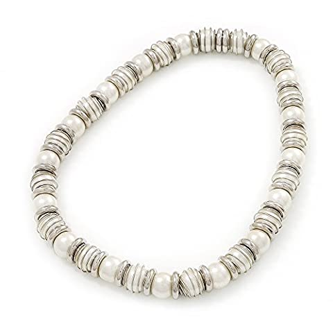 Crème légère imitation perle & Silvertone Bague en métal stretch Collier ras du cou