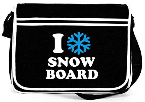 I LOVE SNOWBOARD, Apres Ski Wintersport Retro Messenger Bag Kuriertasche Umhängetasche Schwarz