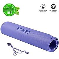 ENKEEO Esterilla Yoga con Correa de Transporte 183 x 80 x 0.6 cm Antideslizante, Espuma EVA Gruesa y de Alta Densidad, Ecológica para Ejercicio Físico, Fitness y Pilates, Color Violeta