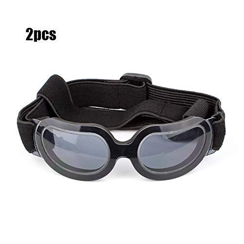 YOCC Kleine Hundebrille - Hund Sonnenbrille Augenschutz UV-Schutz Augenschutz Pet Windproof verstellbare Riemenbrille, mittelgroßer Hund, 2St