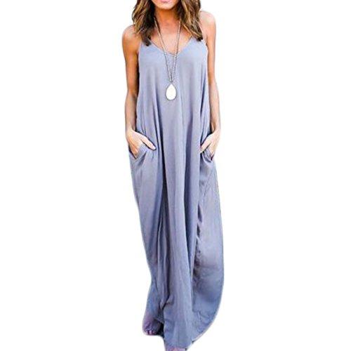 nitt ärmellos Sling Loose Beiläufige Tasche Lang Kleider Trägerkleid Beachwear Strandkleider Freizeitkleid (S, Grau) (Gehobene Kleid)