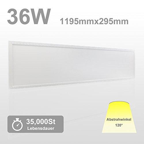 OUBO LED Panel 120x30 Kaltweiss 6000K LED Deckenleuchte Ultraslim 36W 3000 Lumen Wandleuchten für Küche, Keller, Hobby, Büro, Flur, Labor, Lager