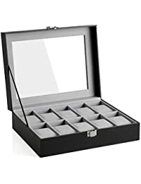SONGMICS 10 Compartment Watch Box with Glass Lid Watch Case with Removable Watch Cushion Velvet Lining Metal Clasp Black JWB010BK