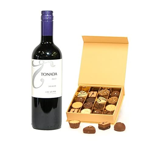 750ml Tonada Merlot Red Wine & 16 Delicious Luxury Belgian Chocolates in a Stylish Cream Gift Box Gift ideas for – Christmas,Fathers Day,Mothers Day,Valentines,Presents,Birthday,Men,Him,Dad,Her,Mum,Thank you,Wedding