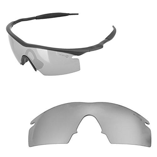 Walleva Ersatzlinsen oder Objektive mit schwarzem Nosepad für Oakley M Frame Strike - 40 Optionen erhältlich, Herren, Titanium Mirror Coated - Mr. Shield Polarized