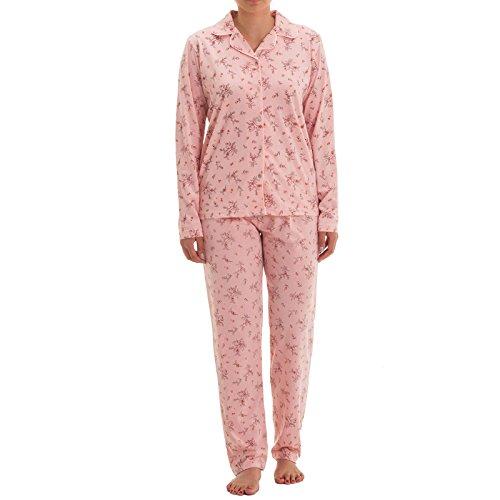 Zeitlos Damen Pyjama mit Blumen Druck und Knopfleiste, Größe:XL;Farbe:Altrosa