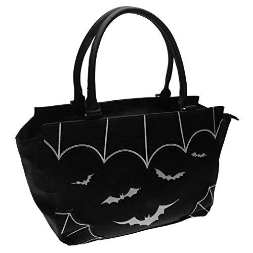 Banned Bats Borsetta da donna nero borsa da donna Borsa, Black, H: 27cm; W: 38cm; D: 12cm.