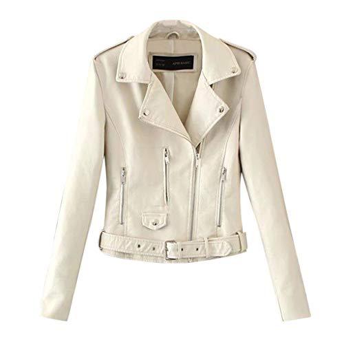 LUGOW Jacken Damen Revers Motor Jacke Mantel Biker Short Punk Cropped Tops Jacke Online Günstig Mäntel Streetwear Übergangs-Jacke...