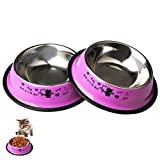 Zhiye Stainless Steel Pet Bowls for Cats 2 Piece Non-slip Cats Feeding Bowl with Cute Cats Pattern Painted Small Dogs Cats