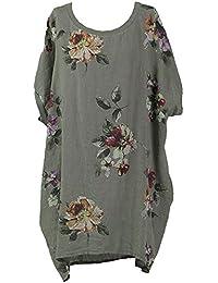 7852c957bba New Ladies Italian Floral Linen Baggy Top Women Summer Lagenlook Top Plus  Sizes