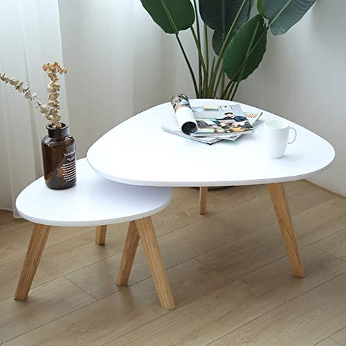 GZLL Kleine Satz Couchtische 2er-Set Mid Century Vintage Beistelltische Nachttisch Modernes Möbeldekor Tischsets Robuste und einfache Montage Akzent Möbel im Wohnzimmer Home Office (Color : White) -