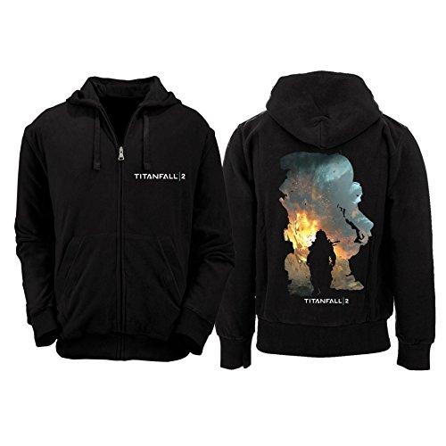 Preisvergleich Produktbild Titanfall 2 - Titan Scorch & Kane Zipped Herren Kaputzenpullover - Schwarz - Größe Large