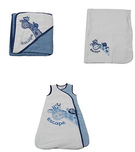 KING BEAR Gigoteuse naissance + Cape de Bain + Couverture Polaire, un Lot de 3 Pièces indispensables dans le trousseau de votre Bébé, Belle Application Girafe coloris Blanc/Bleu