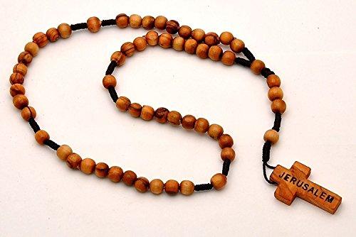Preghiera cristiana collana di perline Rosario cattolico attraversare catena in legno uomo Terra Santa Red