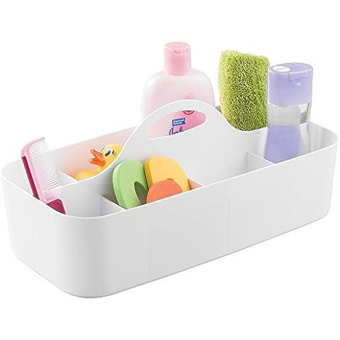 mDesign - Organizador integral del baño del bebé/niño, para el cuarto de baño; organiza champú, acondicionador, talco, medicamentos - grande - Blanco