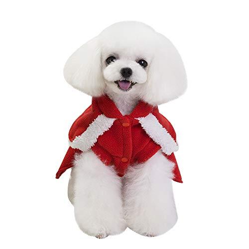 mxjeeio Pet Hundepullover Katze/Hund-Weihnachtsmann-Kostüm, mit Weihnach-Muster, Baumwollkleidung, Kapuzenpullover