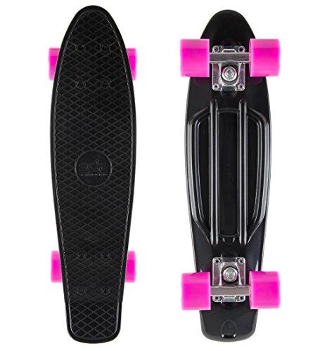 BIKESTAR Original Vintage Retro Cruiser Skateboard für Kinder und Erwachsene auch Anfänger ab ca. 6 - 8 Jahre | 60mm Kinderskateboard Retroboard | Teuflisch Schwarz & Bezaubernd Berry