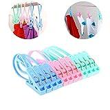 12 pezzi Mollette in Plastica, grandi fermagli per asciugamani e clip per trapunte in plastica per biancheria intima, lettini prendisole, calze da viaggio