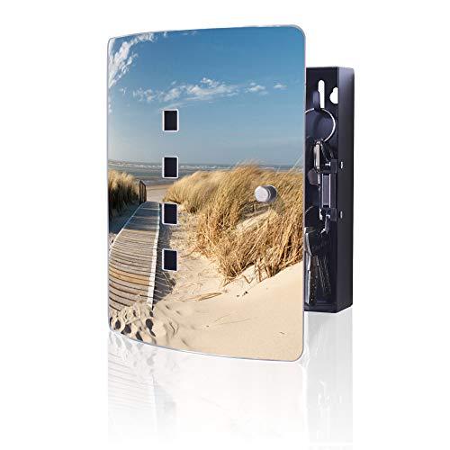 banjado Design Schlüsselkasten aus Edelstahl | 10 Haken für Schlüssel | praktischer Magnetverschluss | 24cm x 21,5cm Motiv Dünen
