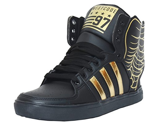 West Code Men's Boots Synthetic Leather Casual Shoes With Wings 6066-G-Black-6