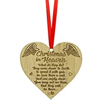 Flair Christmas In Heaven Wood Engraved Quote/Poem Heart Shape Memorial Tree Ornament