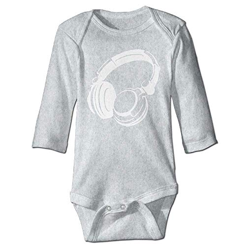 Unisex Newborn Bodysuits Retro Headphones Girls Babysuit Long Sleeve Jumpsuit Sunsuit Outfit Ash