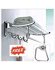 FORTUNE Stainless Steel Folding Towel Rack with Apple Ring