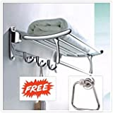FORTUNE Stainless Steel Folding Towel Rack with Apple Ring (Steel Glossy Sign, 24-inch)