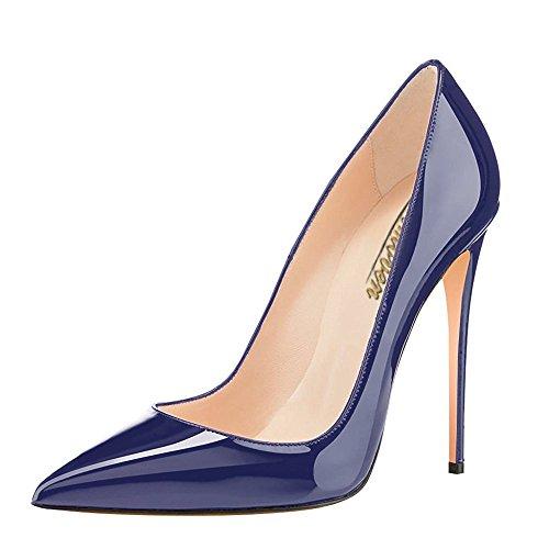 Modemoven Spitzen Stiletto High Heels,Damenschuhe Pumps,Blau Lackschuhe Damen,Hochzeitsschuhe Damen