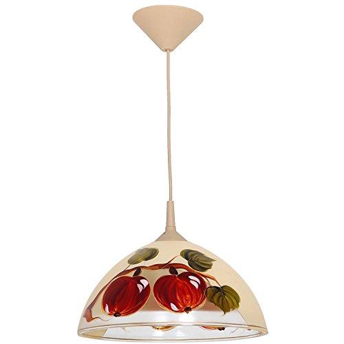 Hängelampe MILO Beige Rot Apfel Motiv rund Ø30cm wohnlich Retro Lampe Glas Esstisch Küche