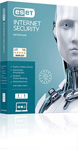 ESET Internet Security 2019 | Für 1 User | 1 Jahr Virenschutz | Für Windows (10, 8, 7 und Vista) |Download | Standard  |  1 User  |  1  |  PC/Mac  | Online Code