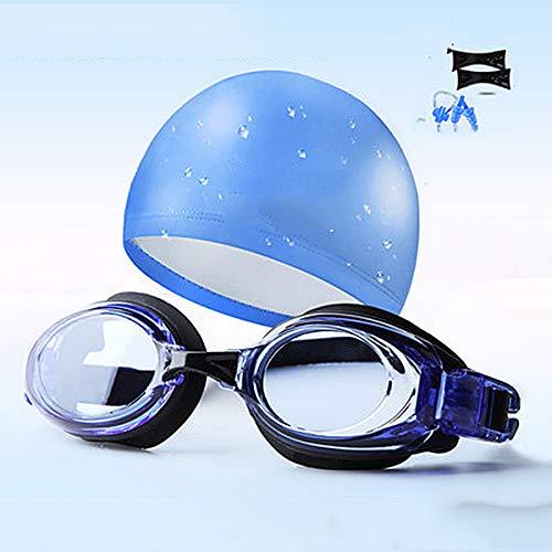 TxDike Lan Schwimmbrille Für Kinder, Schwimmbrille Für Kinder, Schwimmbrille Für Jugendliche, Myopiebrille Für HD-Brillen, Badekappenset Mit Langen Haaren,blueplushat (Ohrhörer Für Teen Jungen)