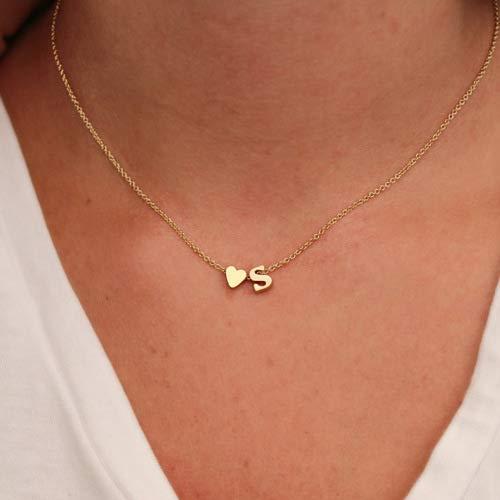Shukun Halskette Brief Halskette Pfirsich Herz geformt Alphabet Halskette Elegant Temperament Wild Boutique 26 Buchstaben Initial Herz, Gold H (2 Stück)