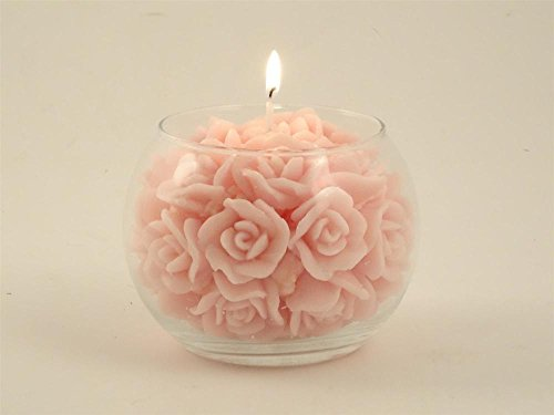Candela rosa bouquet rose con vaso in vetro, Ø12cm