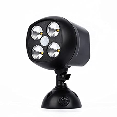 Lampe Murale LESHP Lampe Étanche 600 Lumen Projecteur Spotlight Résistant Aux Intempéries Sans Fil Avec Détecteur De Mouvement Lampes De Sécurité à 4 LED à Piles Pour Jardin Clôture Cour Maison Allée Escaliers Extérieur (Noir 1)