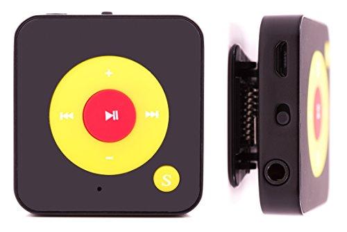 MP3-Player Royal BC05 – Clip, Sport, Fitness Player, 15 Stunden Wiedergabe, Kopfhörer, USB Kabel, mit microSD Kartenslot für bis zu 32 GB microSD Karten – gratis Silikonhülle - Schwarz-Gelb-Rot von Bertronic