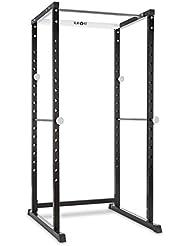Klarfit PR1000 Jaula de musculación multifuncional acero (Extensión para barra olímpica, soportes de seguridad ajustables, apta pesos hasta 320kg, barra dominadas, entrenamiento completo en casa)
